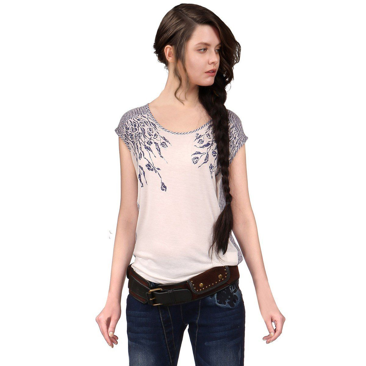 Artka Women's Ethnic All-match Loose Blue Print Sleeveless T-shirt at Amazon Women's Clothing store:
