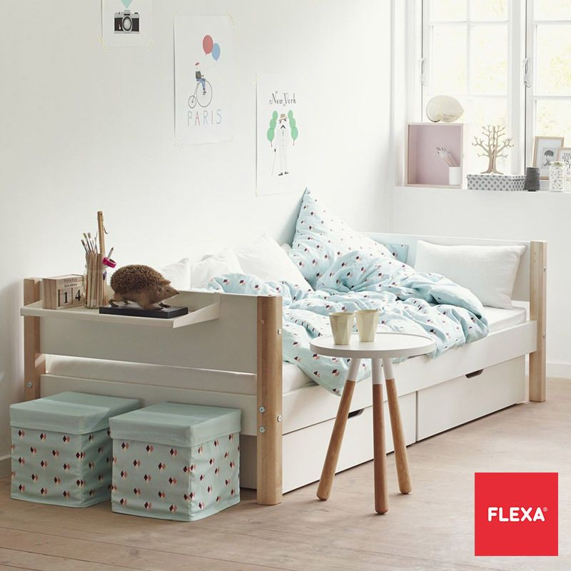 Flexa Single Childrens Bed With 2 Under Bed Storage Drawers