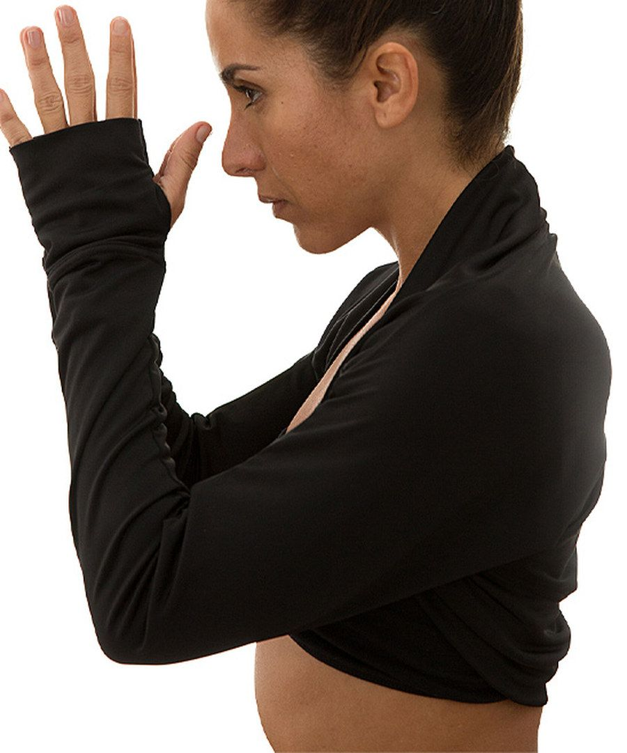 World Balance Black Convertible Thumb-Hole Shrug