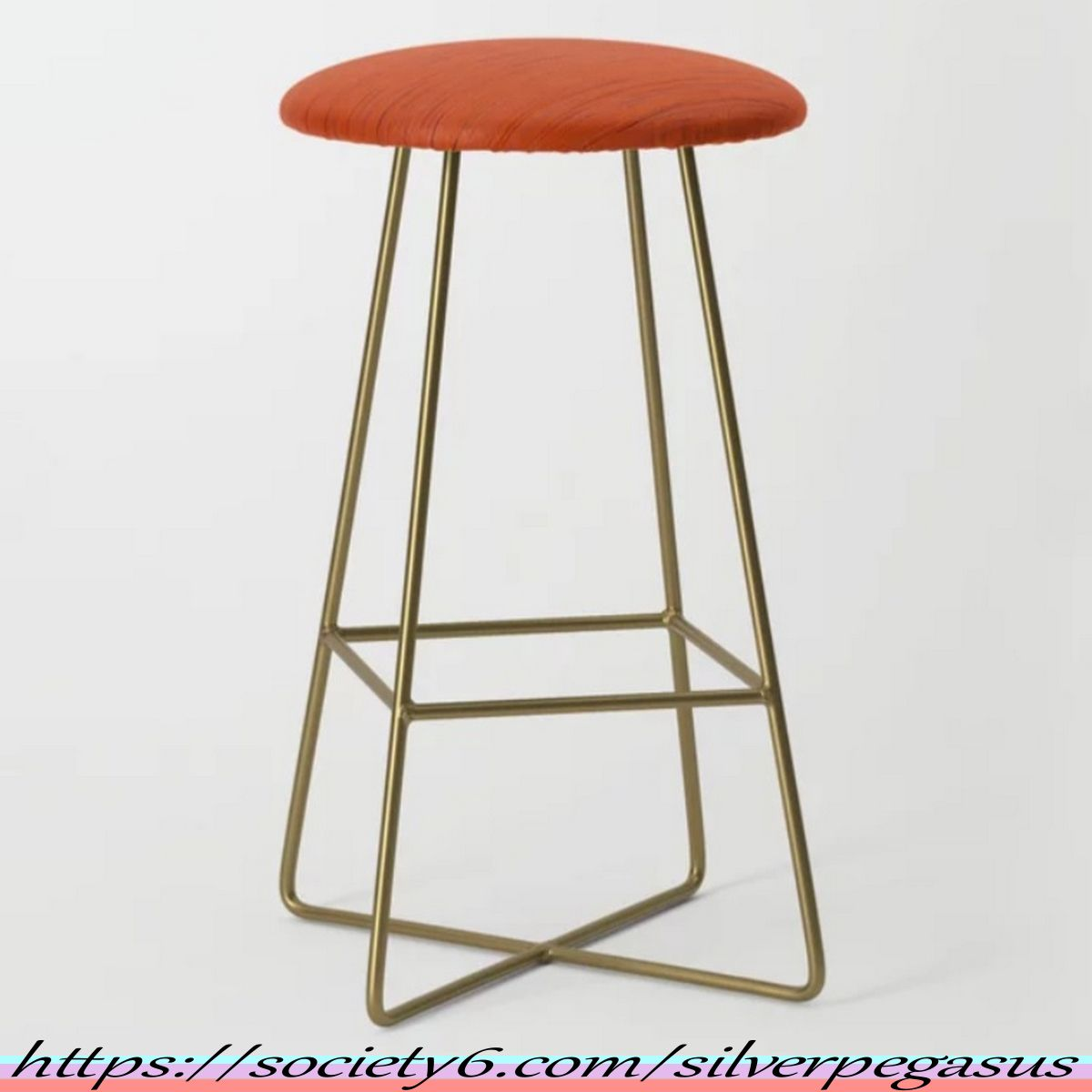 Shop For Meteor Stripes Rust Orange Bar Stool By C Silverpegasus