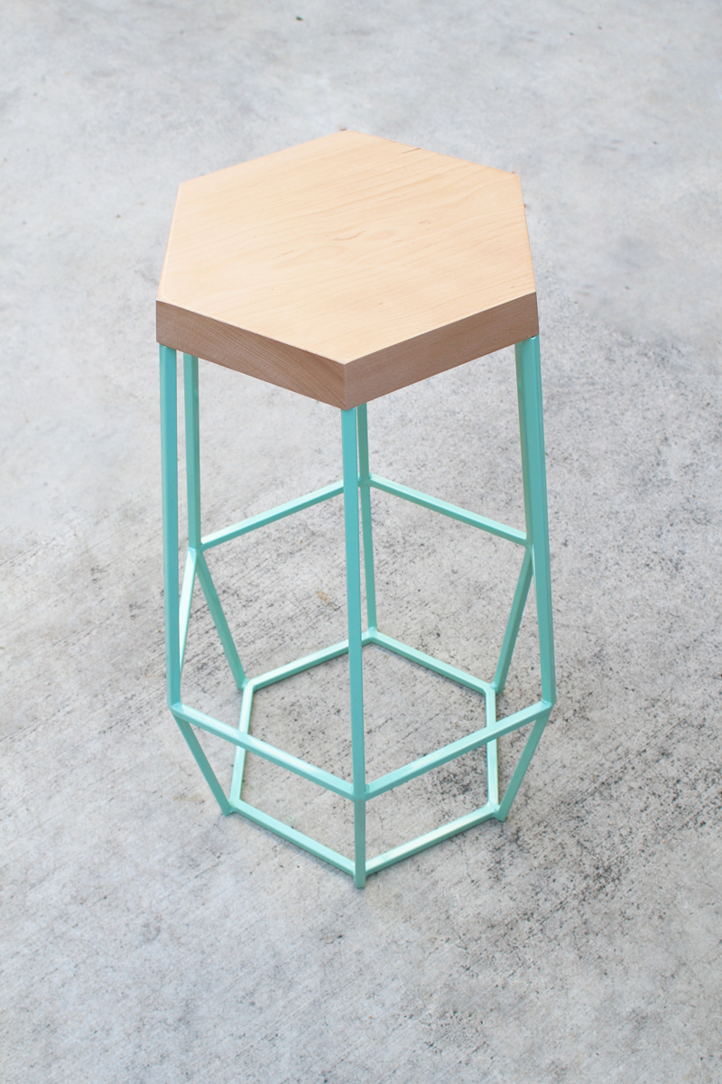 Aqua Wood Geo Stool Timber Ore Disenos De Unas Diseno