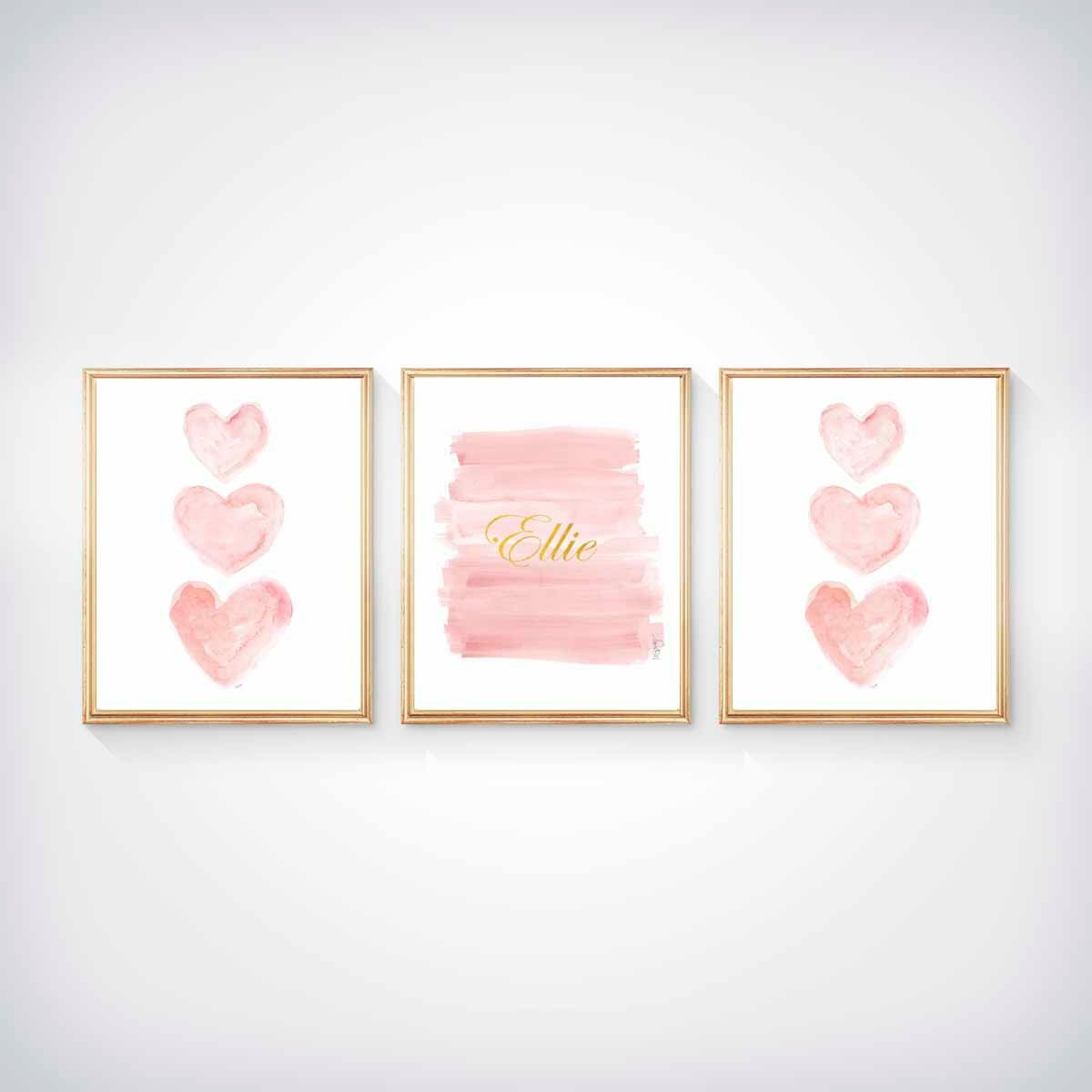 Blush And Gold Nursery Art, Set Of 3
