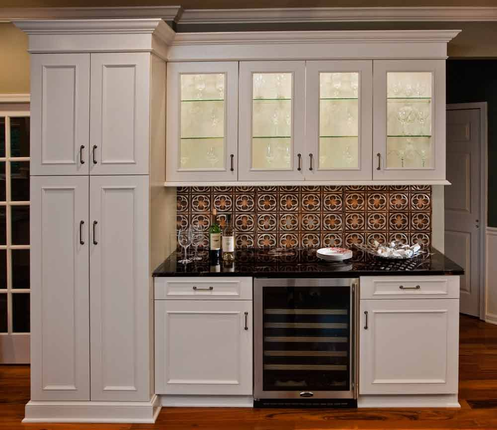 Used White Kitchen Cabinets: Tin Ceiling Tile Used For Backsplash