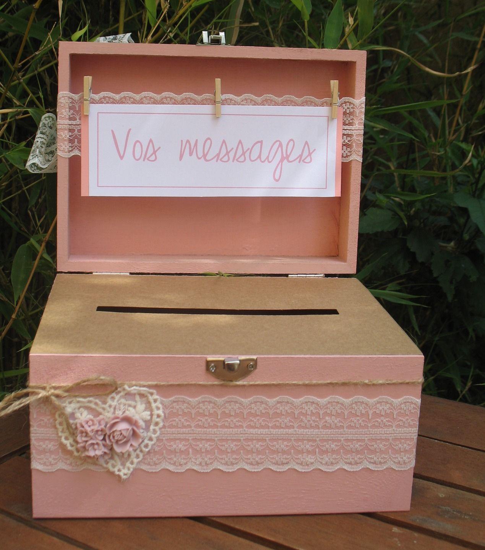 Boite urne mariage bois gamme mariage rose poudr autres pi ces pour cr ations par la - Urne mariage originale ...