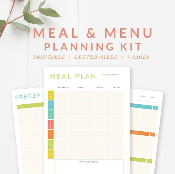Meal Menu Planning Kit  Grocery Shopping Lists Weekly Monthly
