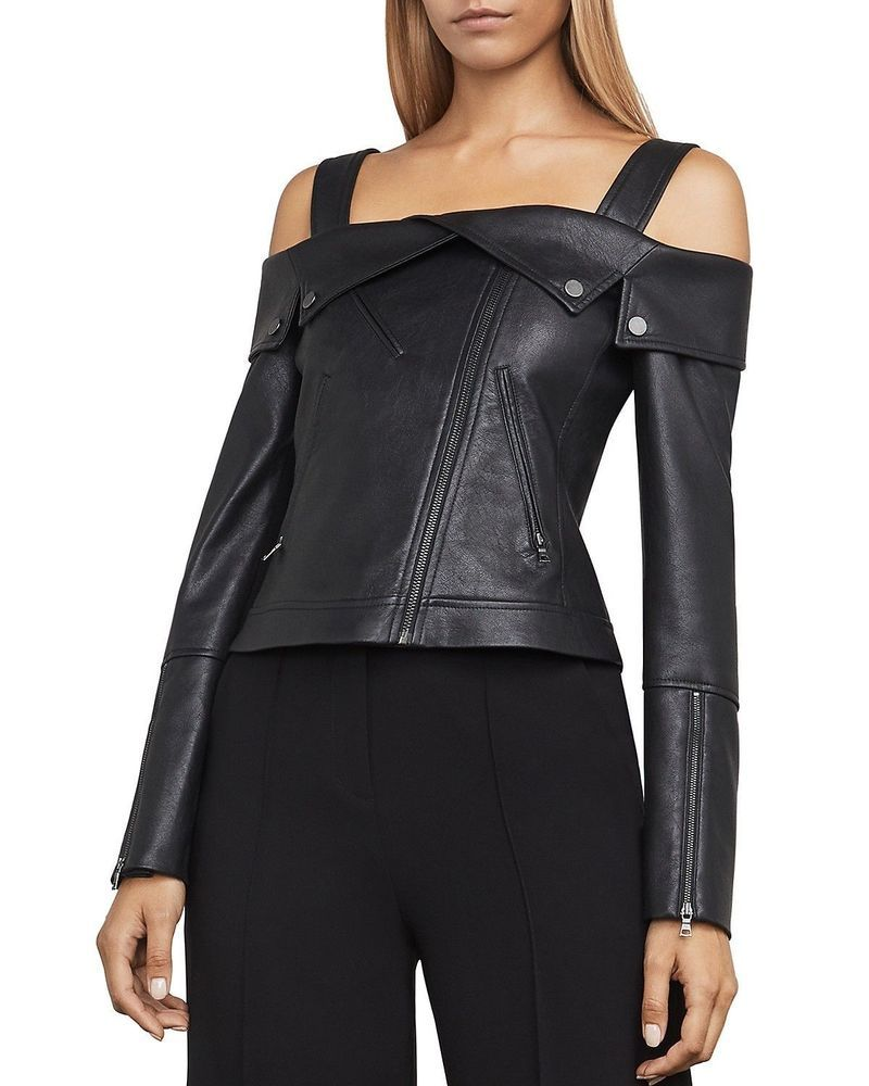better price super specials best online Details about Womens Leather Jacket Motorcycle Off Shoulder ...