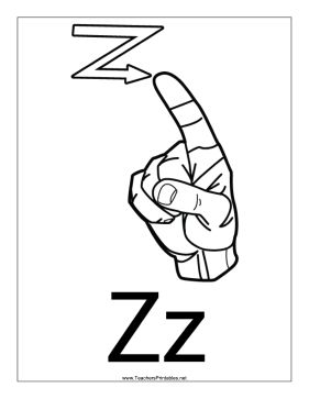 This printable features an outline of a sign language letter z with this printable features an outline of a sign language letter z with a label free spiritdancerdesigns Image collections