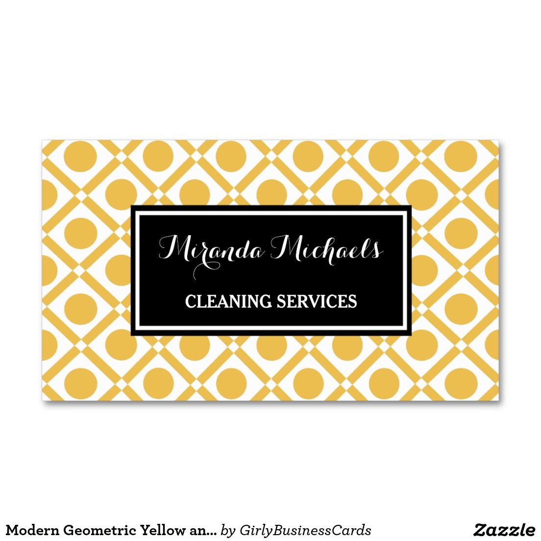 Modern Geometric Yellow and Black Cleaning Service Business Card ...