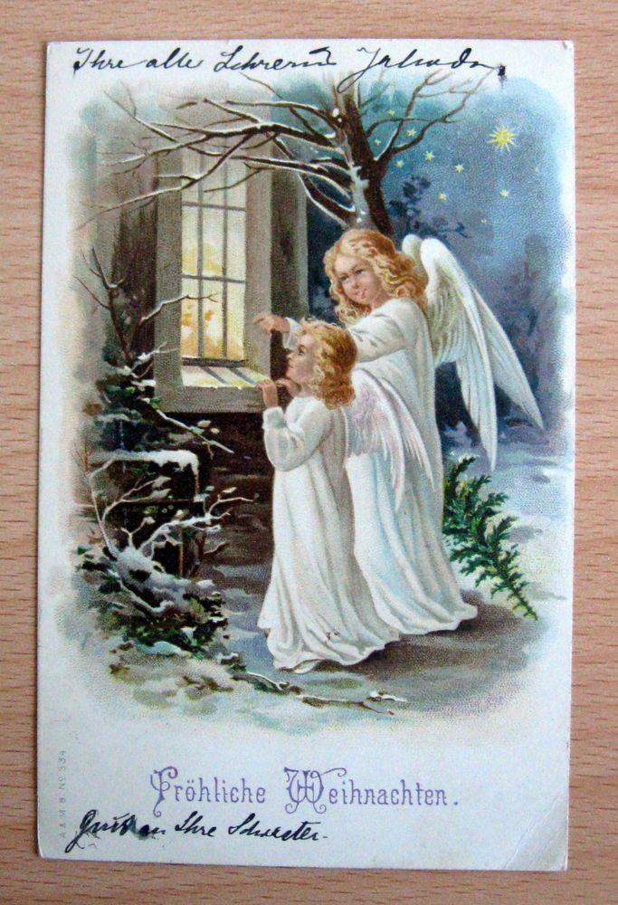 ak weihnachten um 1908 zwei engel am fenster nachthimmel sterne 63018 alt aber sch n. Black Bedroom Furniture Sets. Home Design Ideas