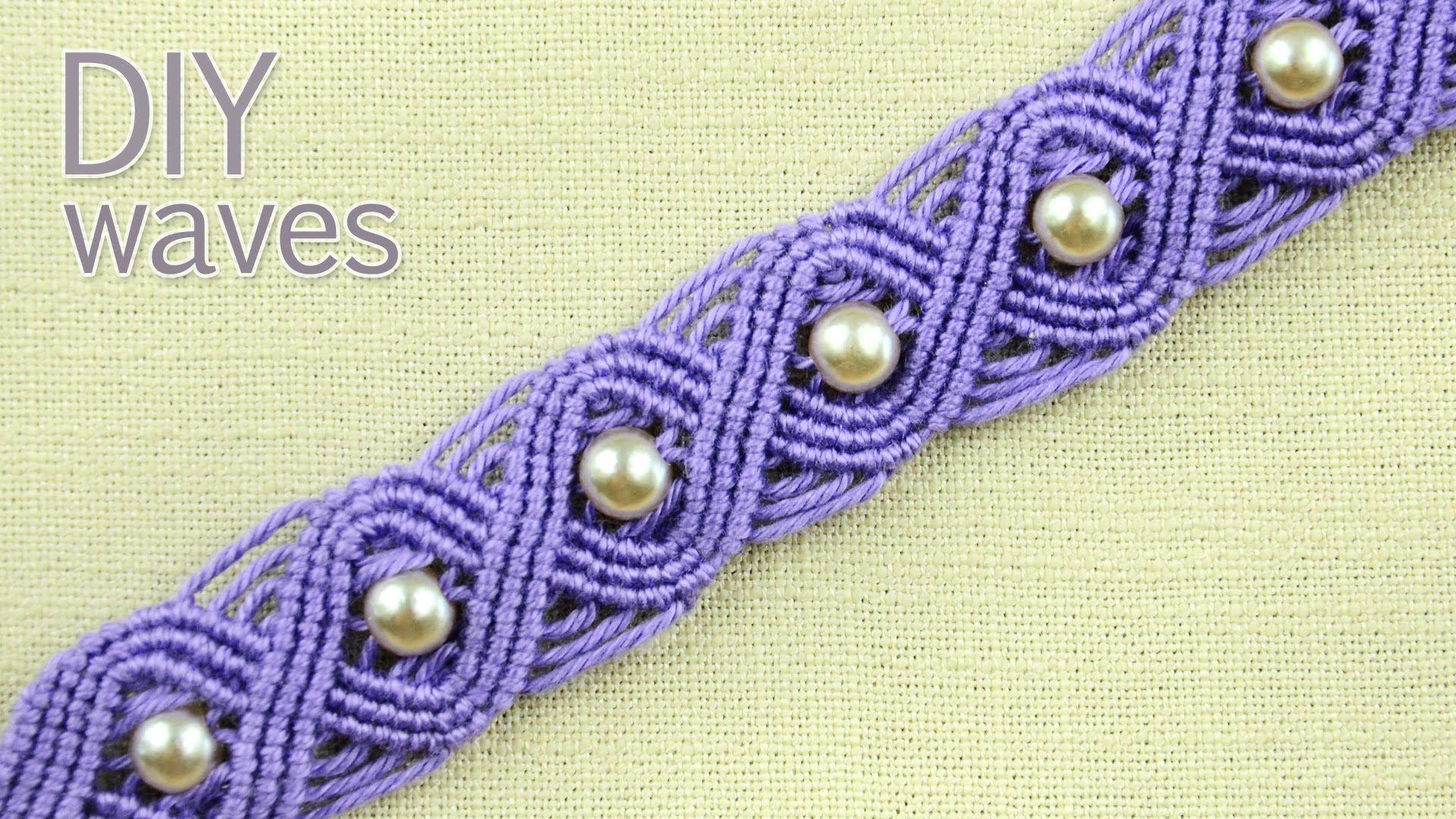 Diy easy macramé eternal wave bracelet with beads | tutorial youtube.