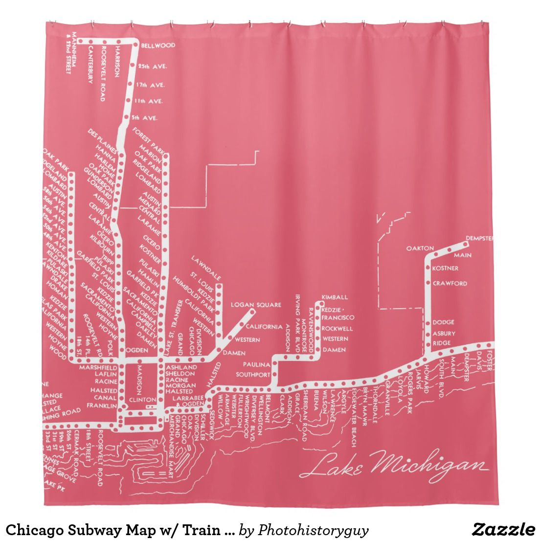 Chicago Subway Map W Train Stops Vintage White Shower Curtain