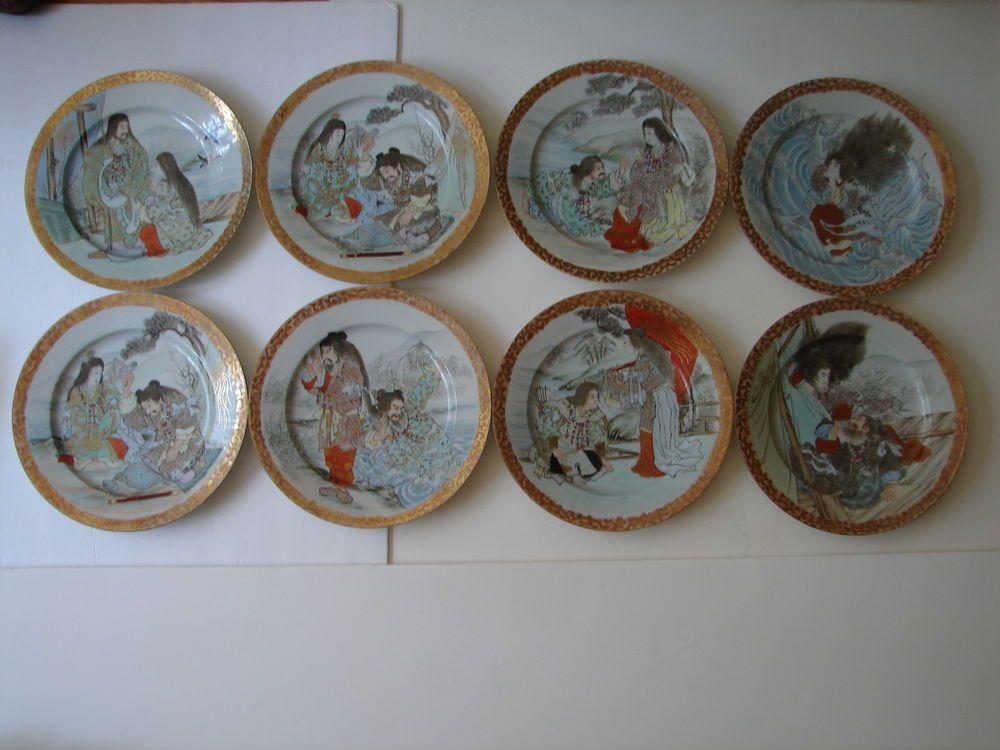 Eight Antique Hand-painted Japanese Porcelain Plates w/ Samurai Scenes (Stories) & Eight Antique Hand-painted Japanese Porcelain Plates w/ Samurai ...