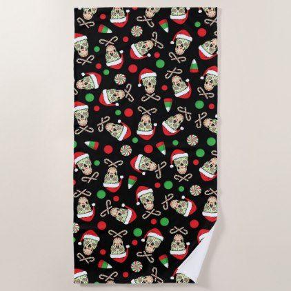 Random Sugar Skull Santa Beach Towel - Xmas ChristmasEve Christmas