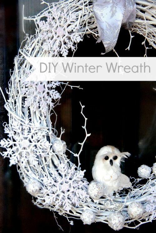 Diy White Winter Wreath Wreath Pinterest Front Doors Wreaths