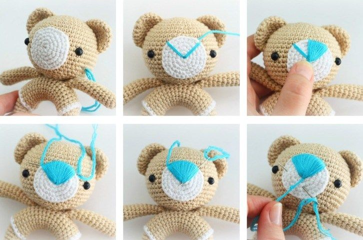 Amigurumi teddy bear rattle crochet pattern - nose | Amigurumi ...