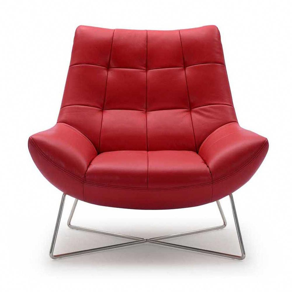 Medici Chair Red Modern Occasional Chairs Leather Lounge