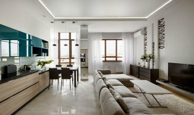 wohnzimmer-essbereich-offen-beige-braune-moebel-hochglanz-blaue - wohnzimmer blau beige