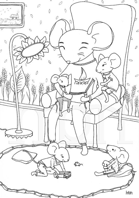 Colouring Pages Mice Family Printable Colouring Sheet By Imbirart Colouring Pages Creative Art Digital Stamps