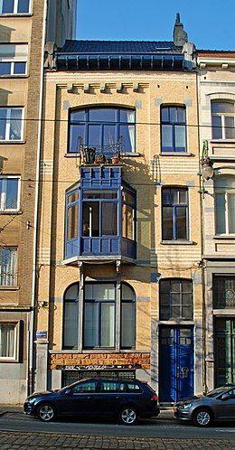 Belgique - Bruxelles - Maison-atelier du peintre Paul Verdussen - 01 - peinture de facade maison