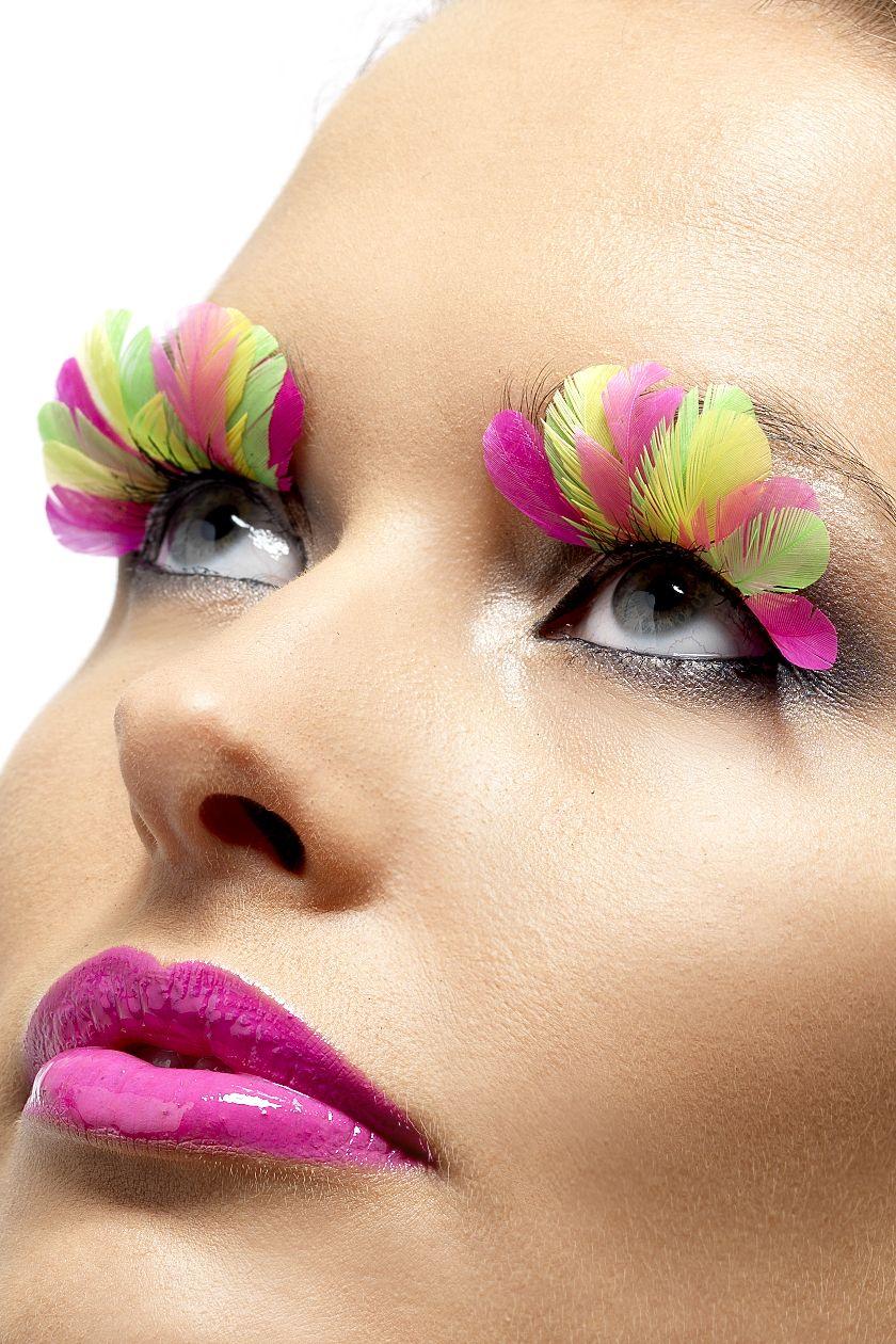 29ac80422b9 Multicoloured false-lashes   Feathers   Pink feathers, Coloured ...