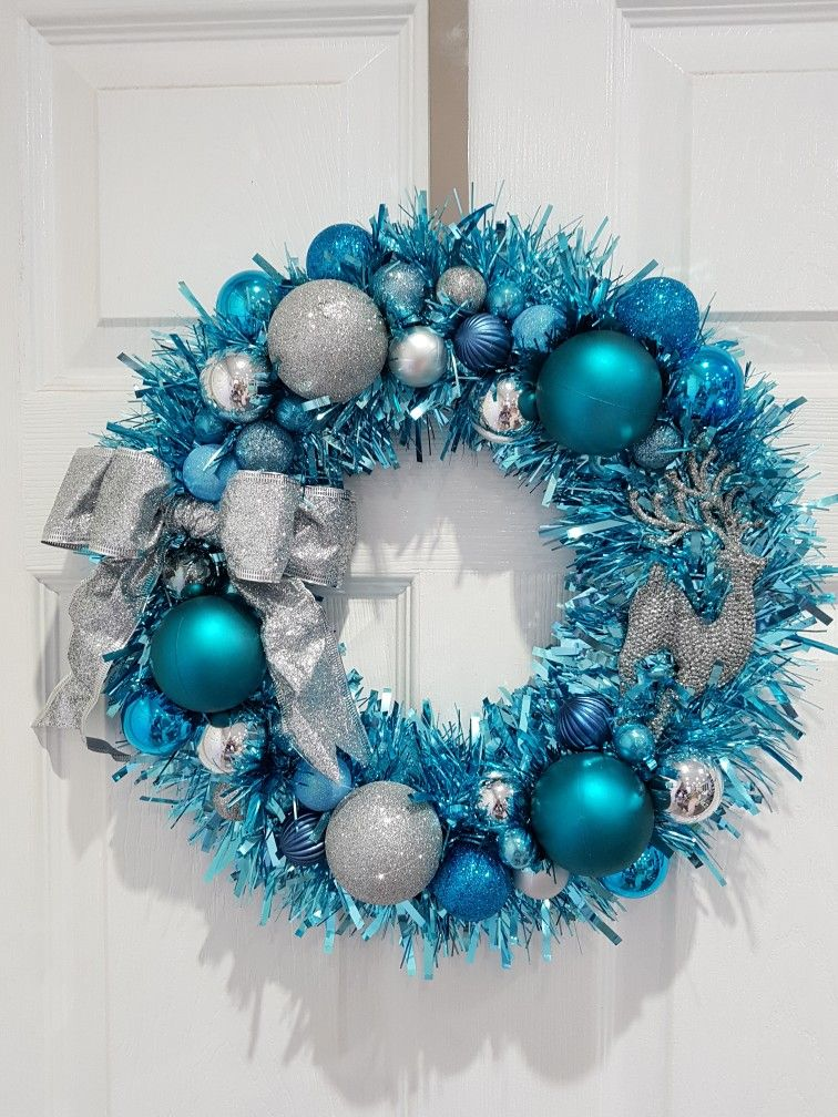 Tinsel Christmas Wreath Blue Silver Reindeer Christmas Wreaths Holiday Wreaths Christmas Decorations