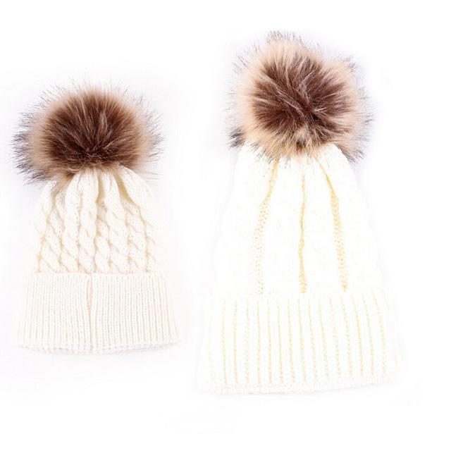Mom and Baby Matching Knitted Hats Warm Fleece Crochet Beanie Hats ...