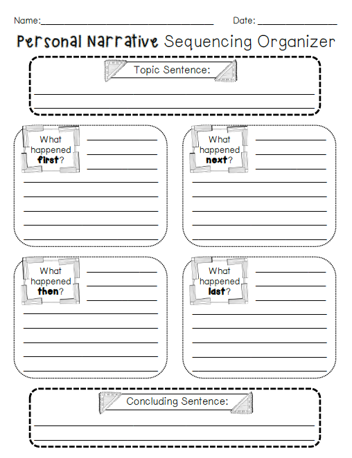 personal narrative sequencing organizer teaching pinterest