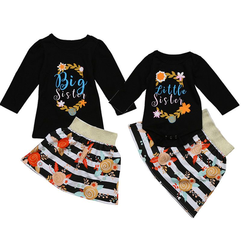 a282cfa029272 Newborn Little and Big Sister Flower Printed Matching Rompers Tops ...