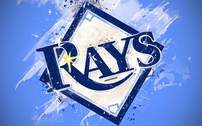 Download Wallpapers Tampa Bay Rays 4k Grunge Art Logo American Baseball Club Mlb Blue Background Emblem St Petersburg Florida Usa Major League Baseba Tampa Bay Rays American Baseball League Tampa Bay