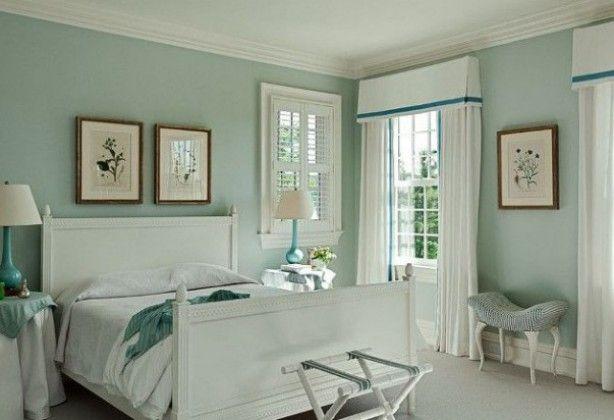 romantische slaapkamer idee. tref: wit, blauw, slapen, bed, munt, Deco ideeën