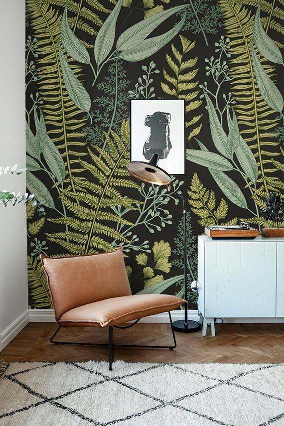 Botanical Wallpaper, Ferns Wallpaper, Wall Mural, Green Home Décor