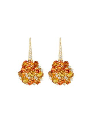 Fantasia 18k Diamond, Topaz & Citrine Drop Earrings