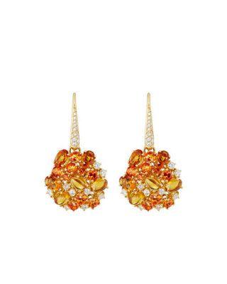 Fantasia 18k Diamond, Topaz & Citrine Drop Earrings