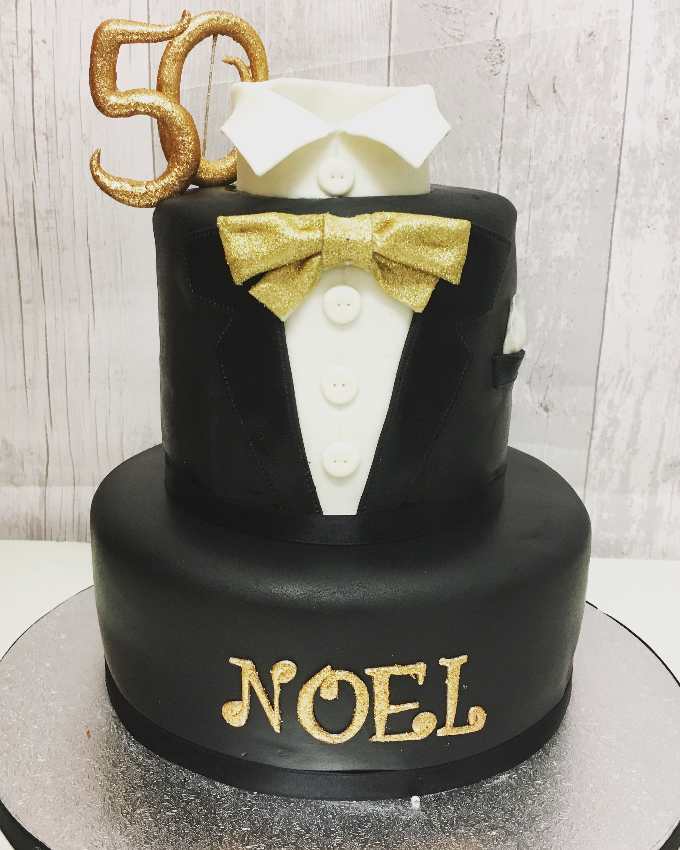 50th Birthday Celebration Men's Two Tier Suit Cake (With