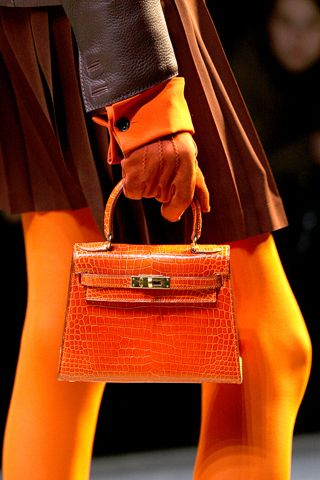 6e25516503 Mini Orange Kelly Bag in Crocodile