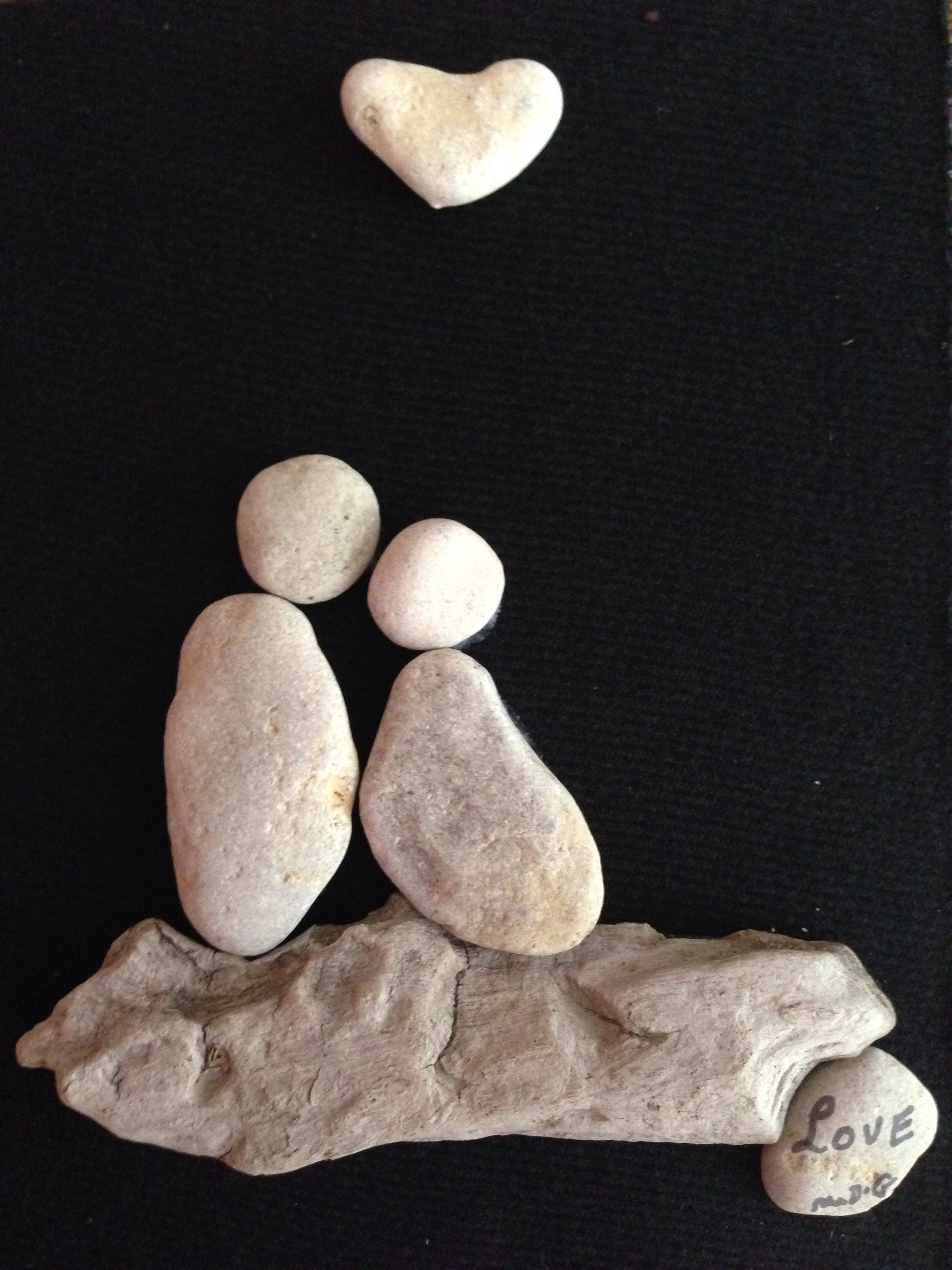 """Pebble Art """" Love"""" by Denise Gray. For sale."""