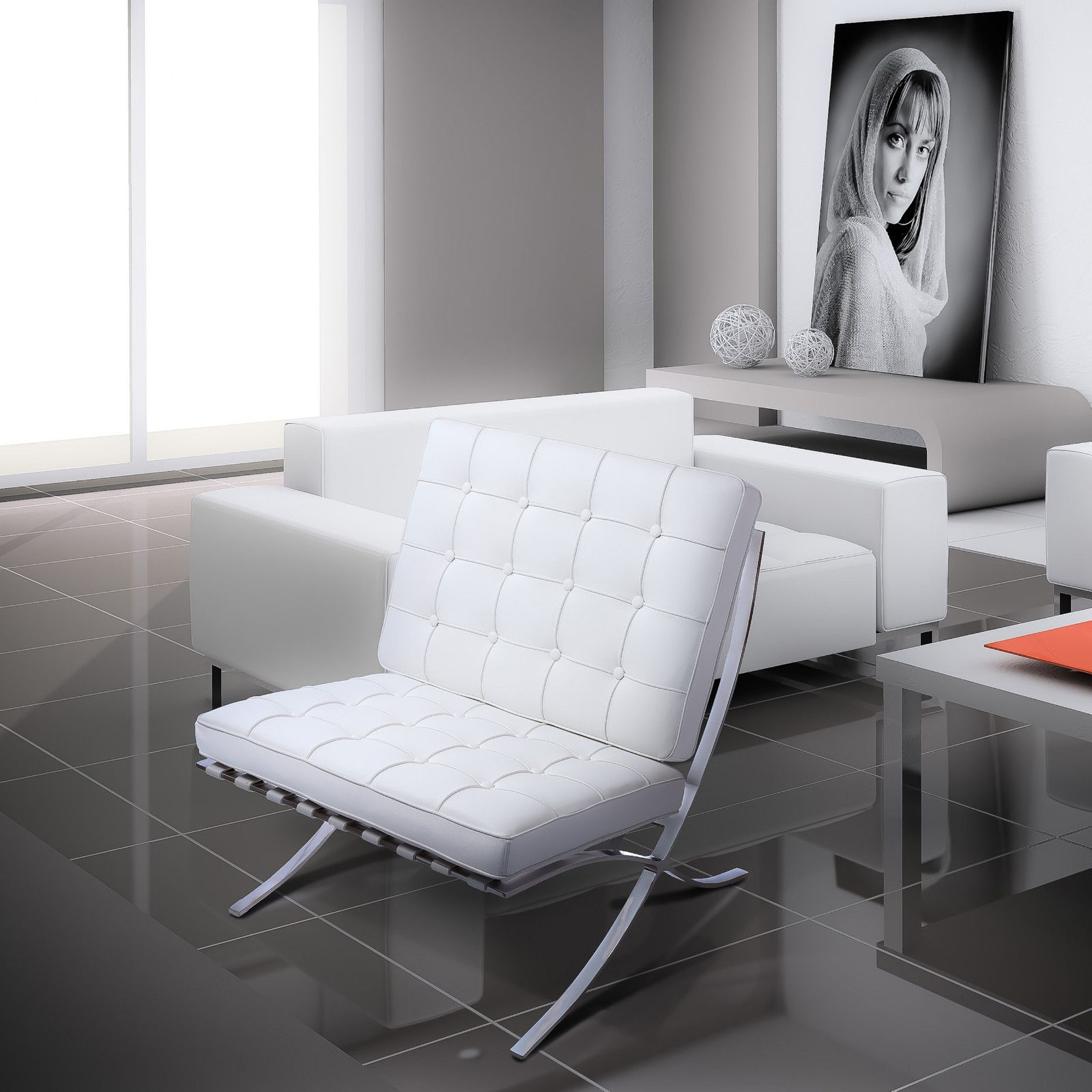 pavilion iconic midcentury modern design lounge chair in white
