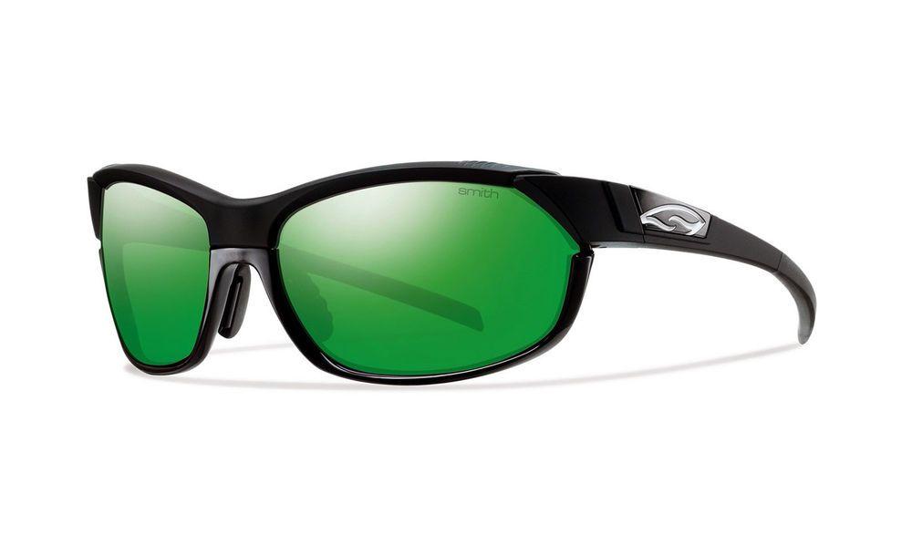 New $199 Smith Optics Pivlock Overdrive Black Sunglasses Kit 3 Lenses Green