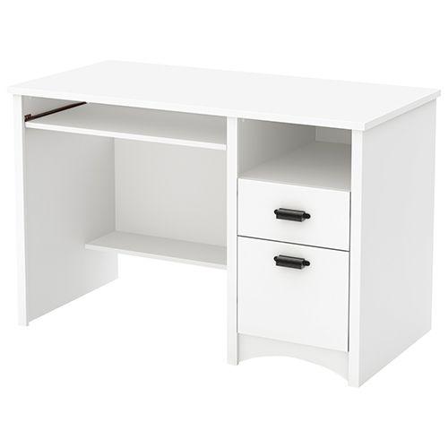 South Shore Gascony Computer Desk Pure White Desks Future Shop Meja Kayu Kayu Meja