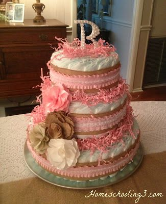 Homeschooling 3: Weekly Highlights: A Baby Shower, Mom's Mini Cheesecake Recipe, and Lots of Resources and a Diaper Cake