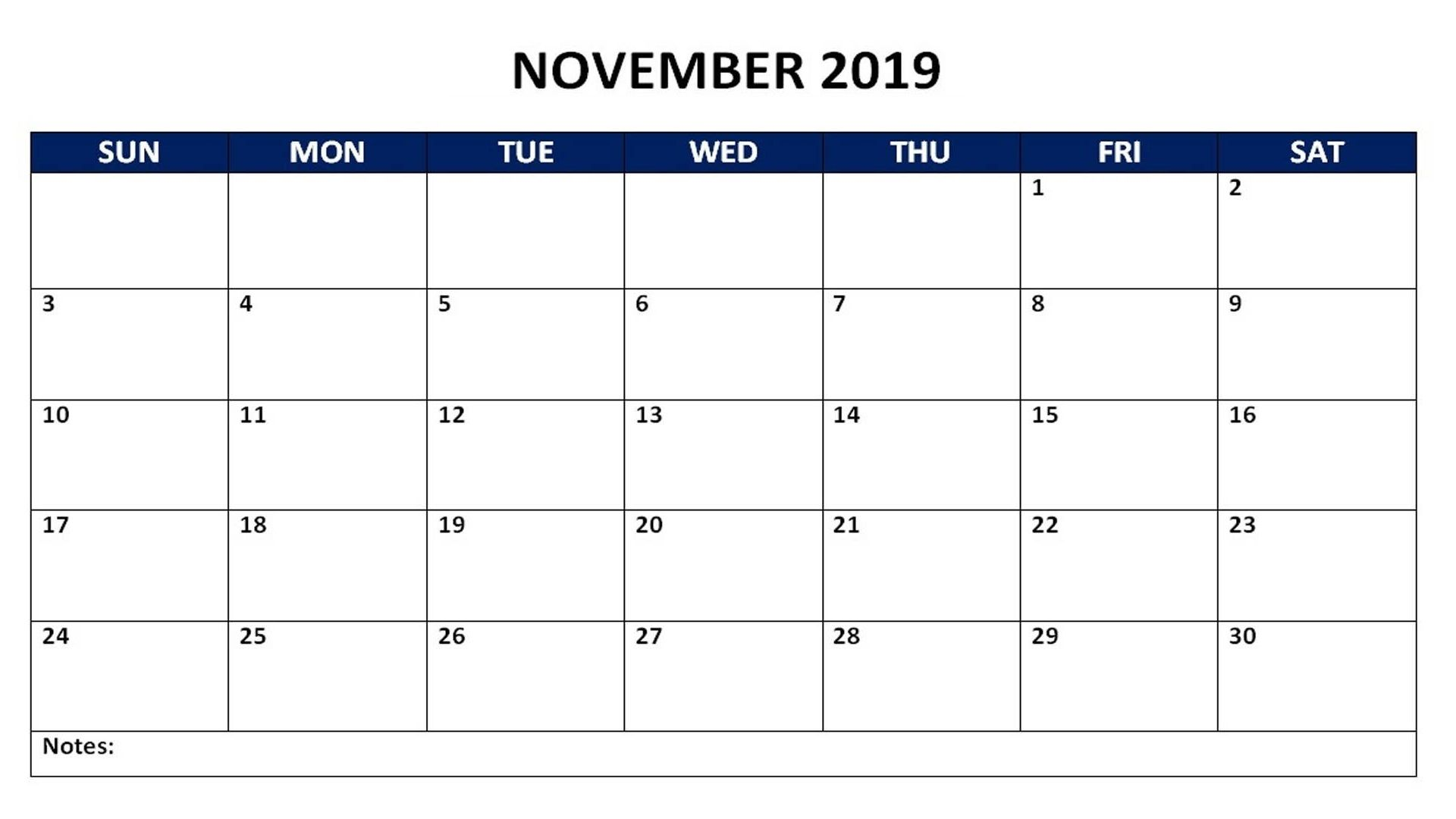 November Monthly Calendar Calendars Jpg 1920x1080 Weekly Memo 2019 Picturesque