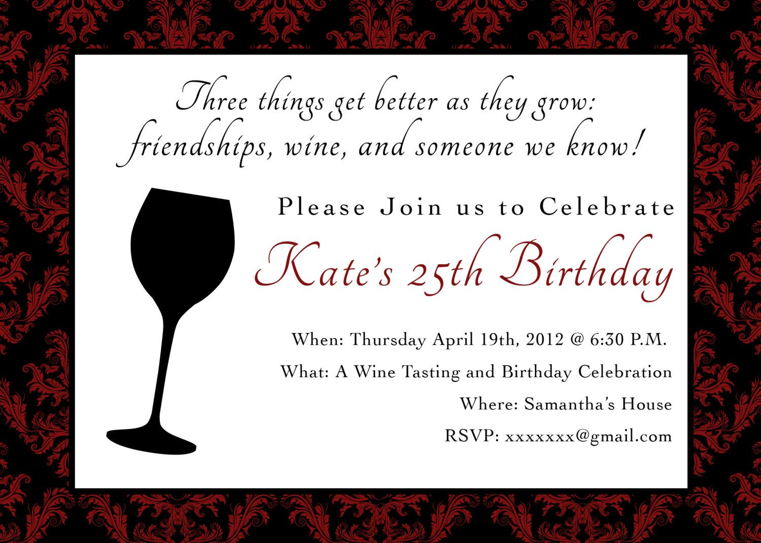 Printable Birthday Party Invitation - 5 x 7 Wine Themed Birthday ...