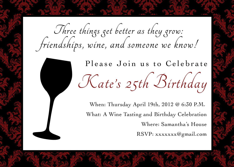 Printable Birthday Party Invitation 5 x 7 Wine Themed Birthday