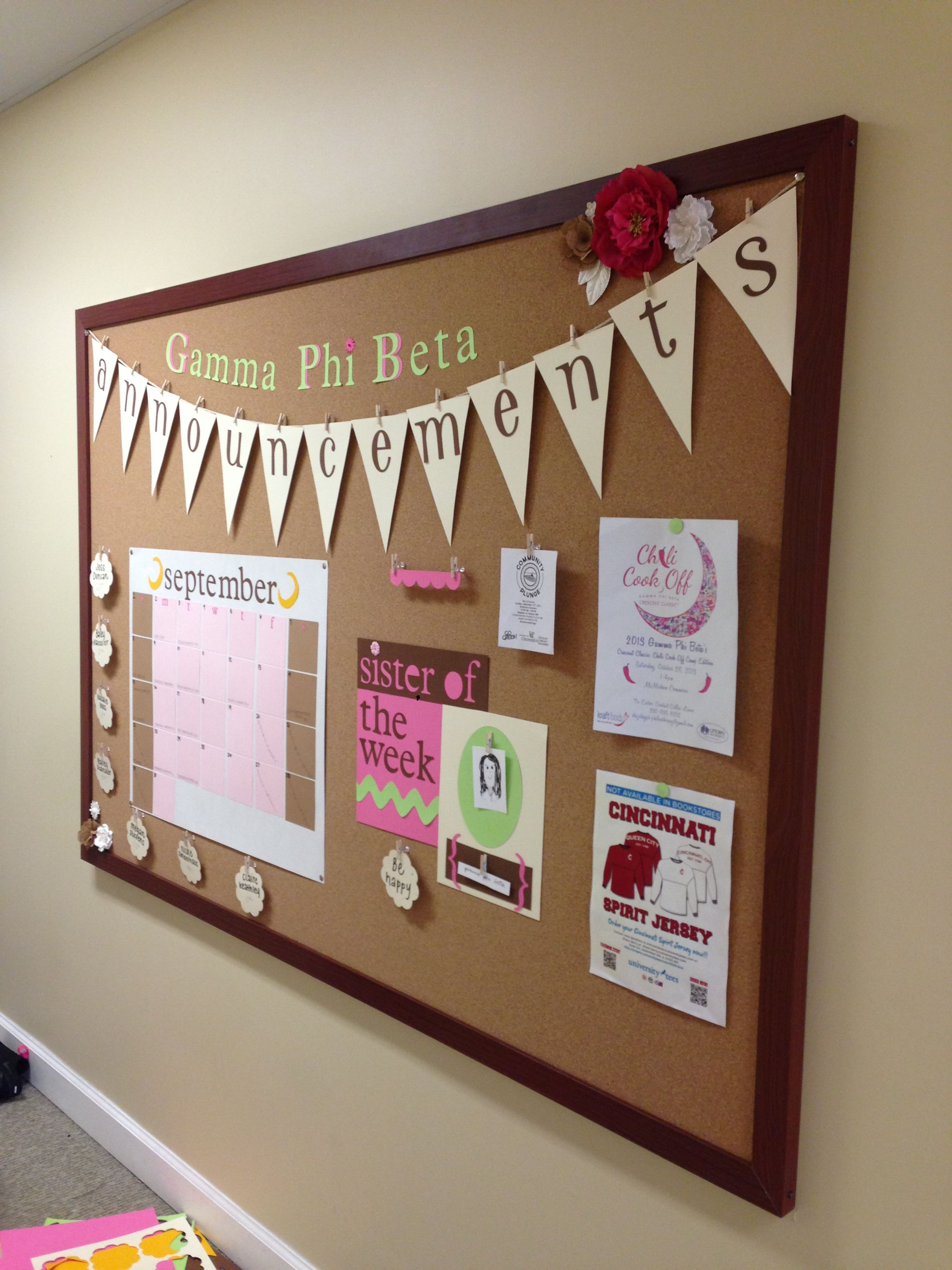 Chapter Announcement Board - Post In Meeting Room