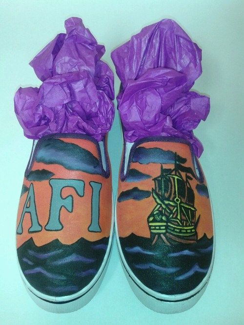 d451641045 Custom Handpainted AFI Slip On Shoes by InsidiousApparel on Etsy ...