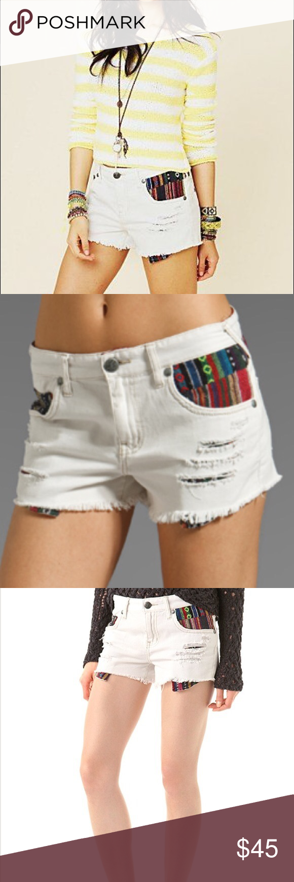 Free People Baja White Denim Cutoff Shorts ???? Coming Free People Shorts #denimcutoffshorts