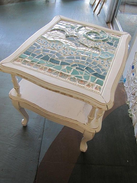 Best Beach Waves Mosaic End Table Beach Waves Mosaics And Beach 400 x 300