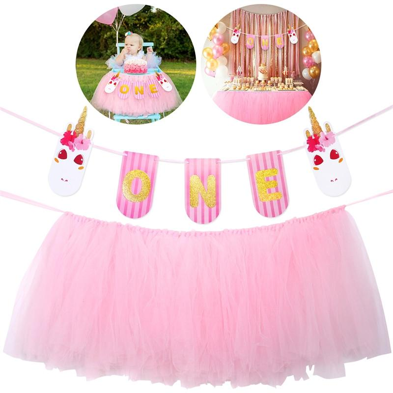 UNOMOR Baby 1st Birthday Pink Tutu Skirt For High Chair Decoration Party Supplies