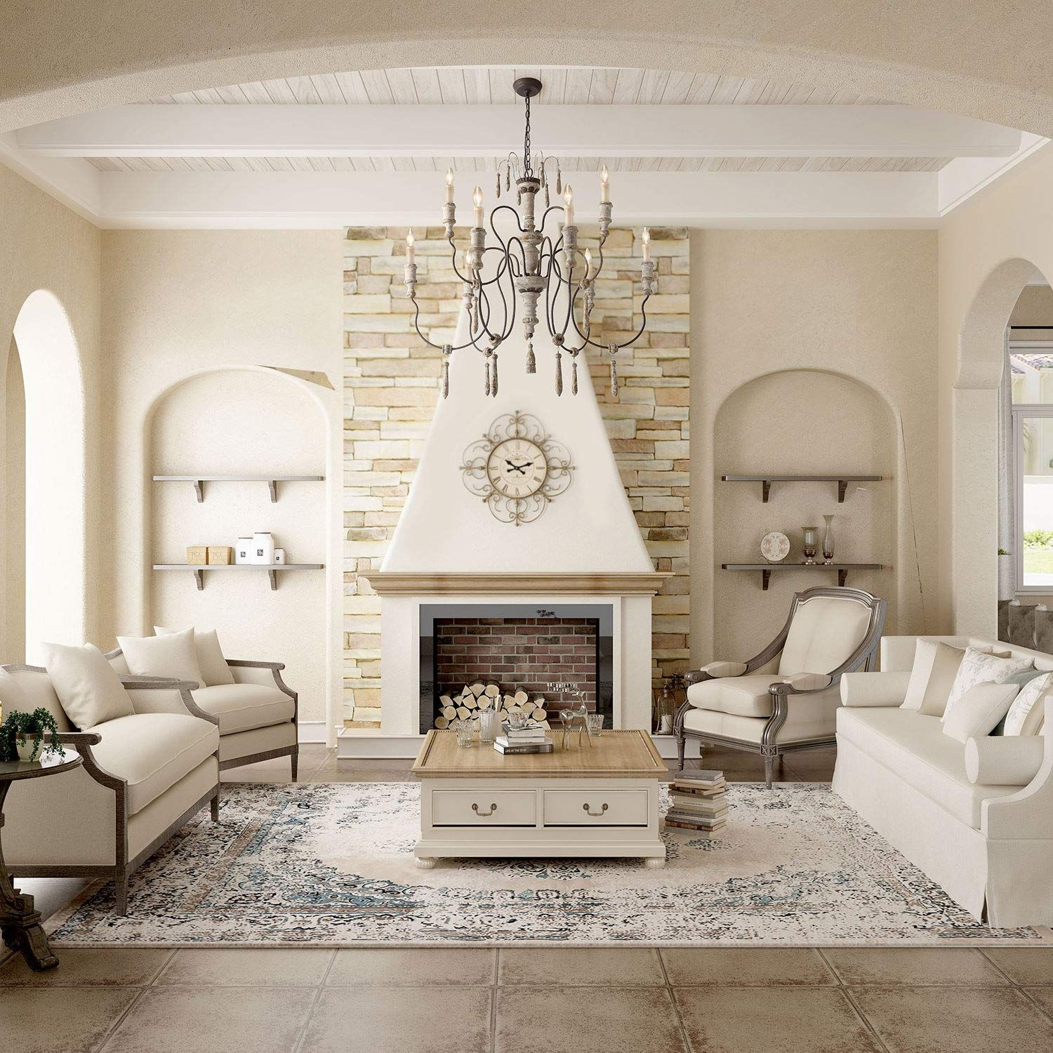 Laluz 9 Light French Country Distressed White Wood Chandeliers