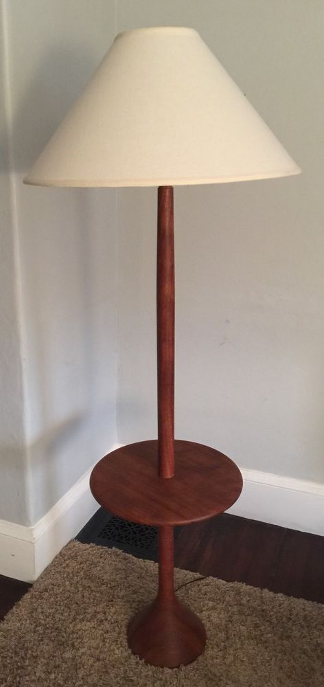 Table With Built In Lamp Mesmerizing Vtg Danish Turned Teak Floor Lamp Mid Century Modern Sculptural Design Ideas